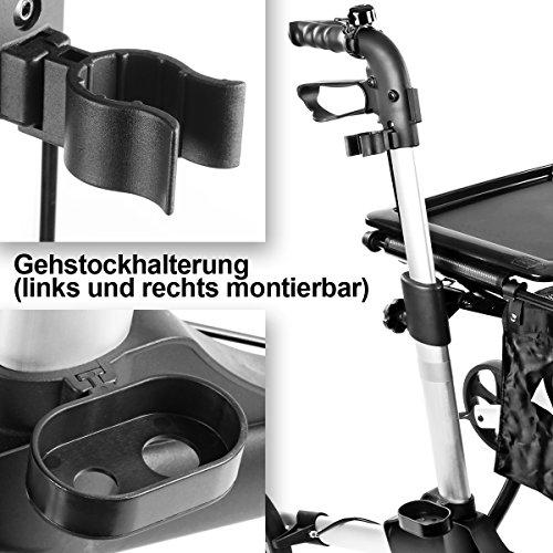Rollator mit Sitzfläche, Tragetasche, Ankipphilfe und Taschenlampe ALU klappbar
