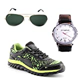 Elligator Red & Black Stylish Sport Shoes,& Watch With Spartiate Sunglass For Men's - B014DSED9I