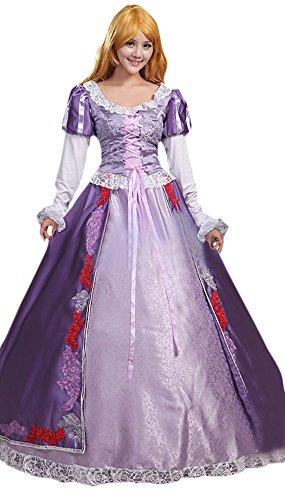 Halloween 2017 Disney Costumes Plus Size & Standard Women's Costume Characters - Women's Costume CharactersAdult Women's Halloween Deluxe Tangle Rapunzel Costume Princess Dress (Sizes S-2X)