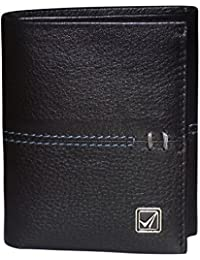 Kan Pure Leather Black Men's Tri Fold Wallet With Card Holder & Coin Pocket