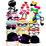 FitSand (TM) Photo Booth Props 58 Piece DIY Kit For Wedding Party Reunions Birthdays Photo Booth Dress-up Accessories & Party Favors Costumes With Mustache On A Stick Hats Glasses Bowties Mouth