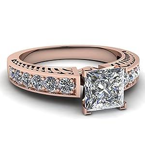 Fascinating Diamonds 1.1 Ct Princess Cut Diamond Vintage Style Pave Set Engagement Ring 14K GIA