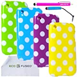 ECO-FUSED 9 Pieces Polka Dot TPU Flex Gel Cover Case Bundle For Apple IPhone 3 3G 3th / 4 Polka Dot TPU Cover...
