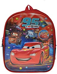 Artisan Crafted Disney Pixar Car Cartoon Character 3-D School Bag/ Backpack (Red/Navy Blue) For Kids/ Boys/ Girls