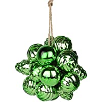 EarthenMetal Handcrafted Shiny & Sparkling Green Decorative Glass Ball Hanging (Set Of 20 Glass Balls / Rings)