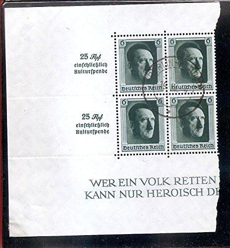 Postage Stamp Germany Hitler Souvenir Sheet 6 Pf. 25 Rpl, Scott B104 MNH