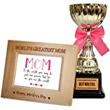 TiedRibbons Mother's Day Gift Quotes Engraved Wooden Photo Frame With Golden Trophy