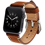 AutumnFall Luxury Leather Wristband With Metal Clasp And Adapters For Apple Watch Series 1, Series 2 42mm (Brown)