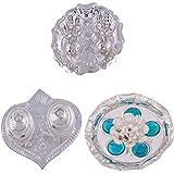 GS MUSEUM Silver Plated Rani Kumkum Plate, Silver Plated Pan Kumkum Plate And Silver Plated Devdas Diya Diamond...