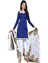 Aracruz Women's Blue Cotton Unstitched Patiala Salwar Kameez Suit With Dupatta