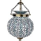 EarthenMetal Handcrafted Pumpkin Shaped Mosaic Design Blue Coloured Glass Hanging Light