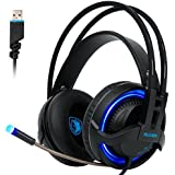 SADES 908 Physical 7.1 Surround USB Gaming Headset 4D Extreme Bass Over-ear Headphone LED Lights With Microphone...