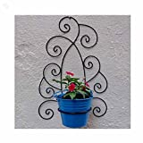 Wrought Iron Wall Bracket With Metal Bucket - Black & Blue