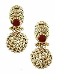 The Art Jewellery Ruby Stone & Moti Rajwadi Net Dangle&Drop Earrings For Women
