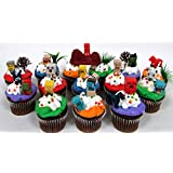 MINECRAFT 24 Piece Birthday CUPCAKE Topper Set Featuring Mini Minecraft Figures And Decorative Themed Accessories...