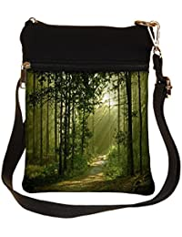 Snoogg Small Trees Cross Body Tote Bag / Shoulder Sling Carry Bag