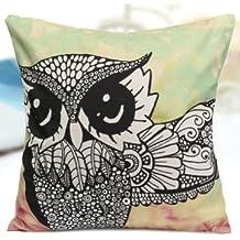 Owl Bird Fish Cotton Velvet Throw Pillow Case Back Waist Cushion Cover Home Sofa Décor-Color2