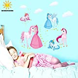 3d beautiful princess wall stickers home decor for kids rooms Girl children's bedroom removable wallpaper sticker