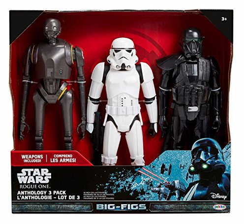 "Star Wars Rogue One Big Figs 3-pack Including 20"" K-2S0, 18"" Death Trooper with 2 blasters and 18"" Imperial Stormtrooper with blaster"