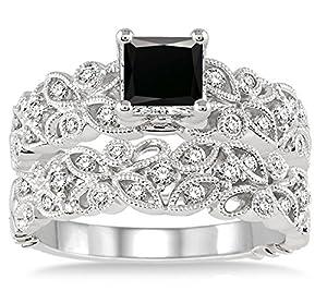 1.5 Carat Black Diamond Infinity Floral Antique Bridal set on 10k White Gold
