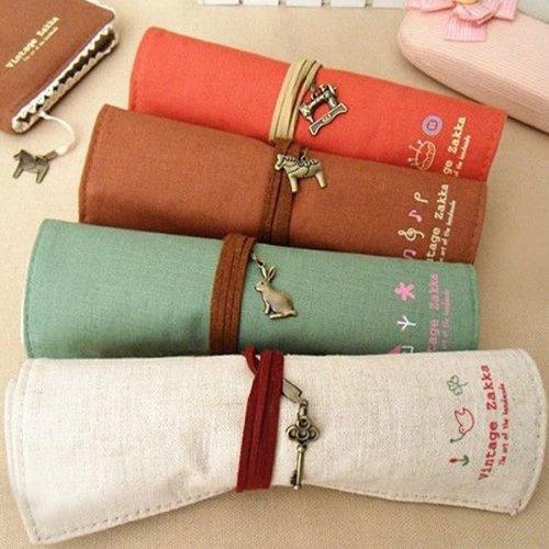 Go-RetailStore Lot de 4 trousses en tissu Couleurs variées Roll Up