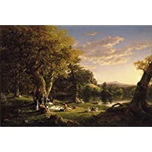 """The Museum Outlet - Thomas Cole - The Picnic, Stretched Canvas Gallery Wrapped. 11.7x16.5"""""""