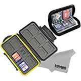 Kupton Memory Card Case Kit Water-resistance Protection Carrying Case Box 24-Slot + Pouch Zippered Storage For...