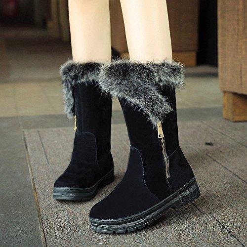 Kaninchen-in-Rohr-Schneeschuhe weibliche dicke warme Winter mit schwerem Boden rutschfeste Stiefel flache Schuhe