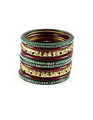 Vidhya Kangan Dazzling Lakh Metal Bangles Set Multicolour-2.8