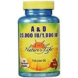 Nature's Life A And D, 25,000 IU/1000 IU Softgels, 250 Count