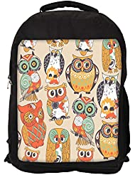 """Snoogg Faces Of Owl Casual Laptop Backpak Fits All 15 - 15.6"""" Inch Laptops"""