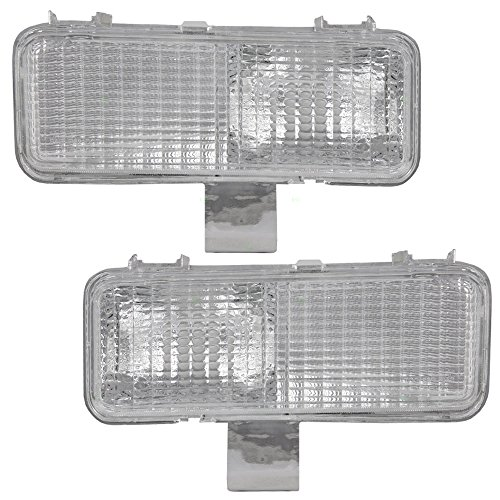 Driver and Passenger Park Signal Front Marker Lights Lamps Lenses Replacement for Chevrolet GMC SUV Pickup Truck 915451 915452