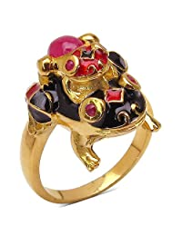 9.00 Grams Red Synthetic Stone & Ruby Gold Plated .925 Sterling Silver Frog Shape Red & Blue Enamel Ring