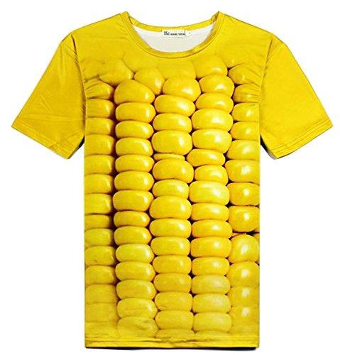 立体とうもろこし柄Tシャツ&サングラス 3DおもしろコーンTシャツと黄色いサングラスのセット (M) [並行輸入品]
