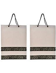 Richa Kriti Handmade Paper Reusable Shopper Bag (Off White)