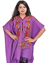 Exotic India Meadow-Violet Cape From Kashmir With Ari-Embroidered Flowe - Purple