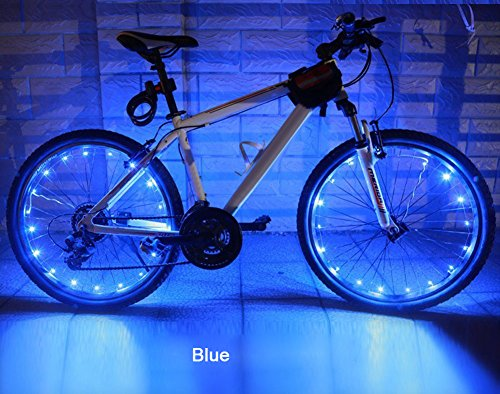 MOKOQI USB Rechargeable Bike Spoke Lights String Cycling Wheel Lights Bicycle Lightweight Accessory [950 MA USB Rechargeable Battery Water-resistant,20 Cool LED,7.2 FT] (Blue)