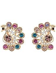 WAAH WAAH Gold Plated Cubic Zircon Earrings Set For Women (Wonder Peacock)