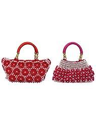 Virali Rao Women's Hand-held Bags Combo, Pink, Red