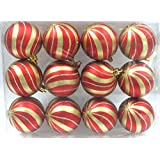 Queens Of Christmas WL-ORN-12PK-SPL-GO 12 Pack Ball Ornament With Gold Spiral Design, Red