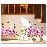 Generic DIY Pink Sun Flowers & Butterfly Wall Stickers Vinyl Decals Art Home Decor - B00RVGORN2