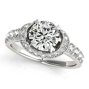 Diamond Frame Engagement Ring. Halo w/ Side Stone Shank, Heart Shaped Prongs, 14k White Gold 1.64ct