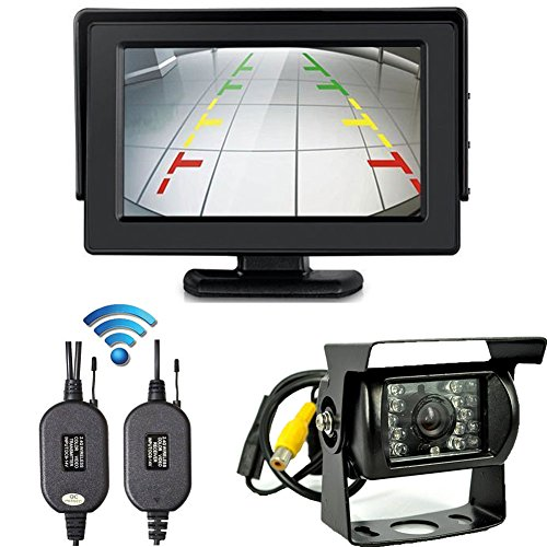 LeeKooLuu Wireless Rear View/Backup Camera and Monitor Kit with 18 Infrared (IR) LED Night Vision For Truck / Van / Caravan / Trailers / Campers