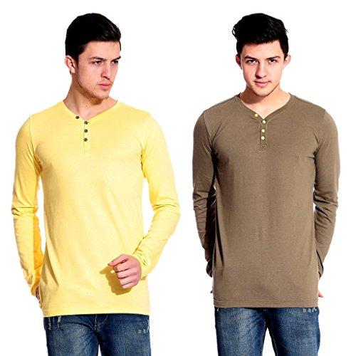 Lemon & Vodka Combo Pack Of 2 Henley Mens Solid Tshirt-CMB-17