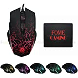 USB Wired Gaming Mouse FOME GAMING Flame Dragon X700-M 6 Noiseless Buttons 3 Speed Transmission 1000 1600 2400DPI...