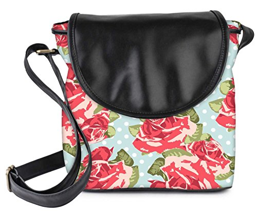 Snoogg Beautiful Seamless Rose Pattern With Blue Polka Dot Background Womens Sling Bag Small Size Tote Bag