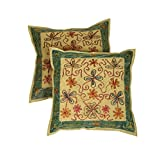 Rajrang Olive Green Cotton Embroidered Cushion Cover - B00UH9HLHO