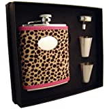 """Visol """"Cheetah"""" Leather Flask Gift Set, 6-Ounce, Pink"""