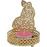 Canflare Aluminium Krishna Candle Holder With Candle - 8 Cm X 10 Cm, Golden