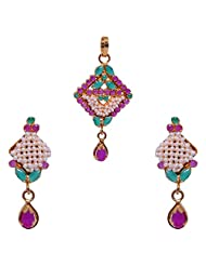 Gehna Pearl, Ruby Round & Emerald Marquise Stone Studded Pendant & Earrings Set